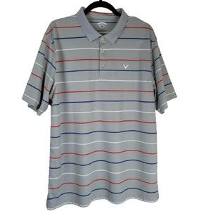 Callaway Gray Striped Golf Polo Shirt Men's